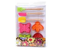 Детский набор для выпечки (7 предметов): 4шт мини-форм для выпечки; 1шт мини-ложка 17.2*3.7см; 1шт мини-лопатка 17.2*2.2см; 1шт мини-кисточка 17.5*3cм
