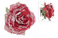 Декоративный цветок Роза на клипсе, красный во льду