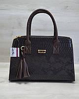 Молодежная женская сумка Кисточка коричневая рептилия / сумка на руку эко кожа стильная
