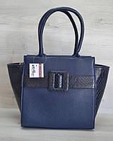 Битая пряжка «Ремень» синий гладкий с синей коброй / Женская стильная красивая сумка на руку
