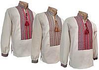 Вышитая мужская  рубашка изо льна с длинным рукавом с классической вышивкой, фото 1