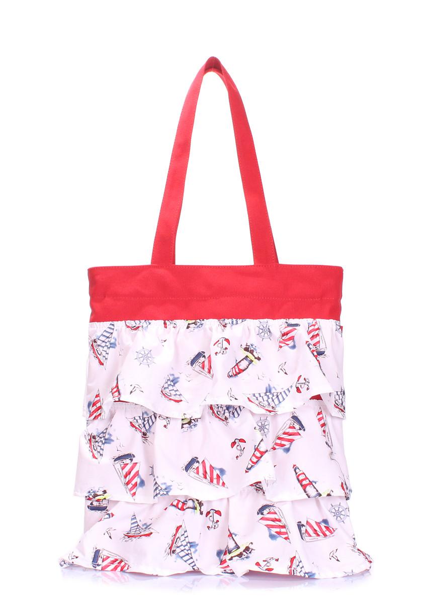5bbb4515138d Летняя пляжная женская сумка в морском стиле (коттон), цвет красный с белым,