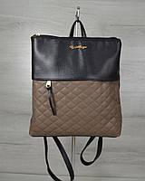 Молодежный рюкзак черного цвета с кофейными кубиками / рюкзак женский городской с тканевой вставкой