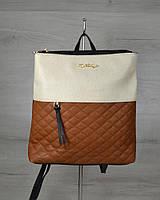 Молодежный рюкзак черного цвета с рыжими кубиками / рюкзак женский городской с тканевой вставкой