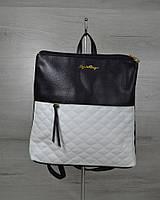 Молодежный рюкзак черного цвета с белыми кубиками / рюкзак женский городской с тканевой вставкой