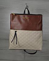Молодежный рюкзак черного цвета с беживыми кубиками / рюкзак женский городской с тканевой вставкой