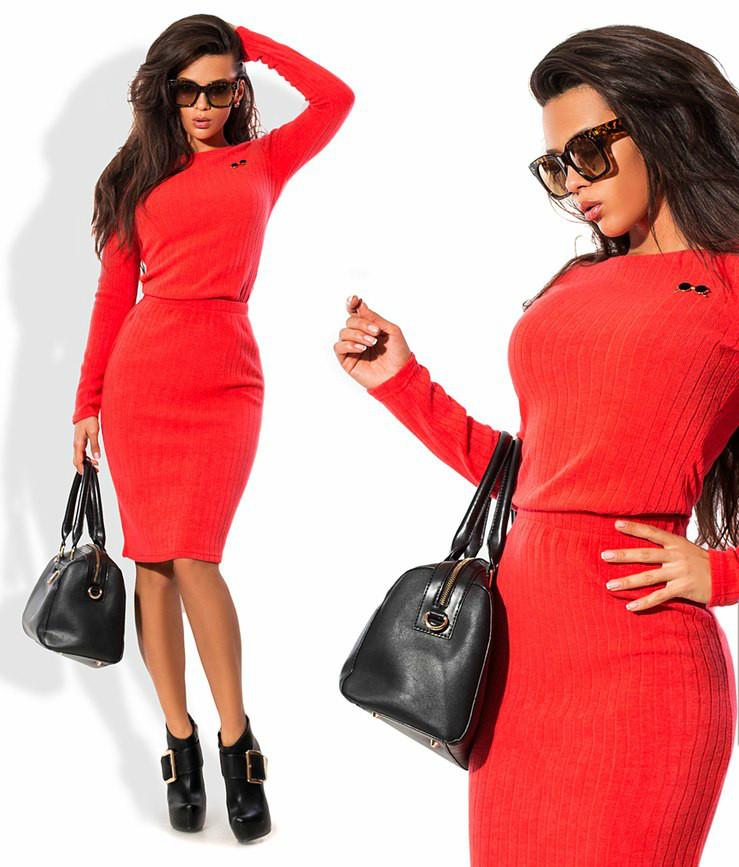 Теплый ангоровый костюм: кофта+юбка из ангоры рубчик, 3 цвета, с 40 по 46рр