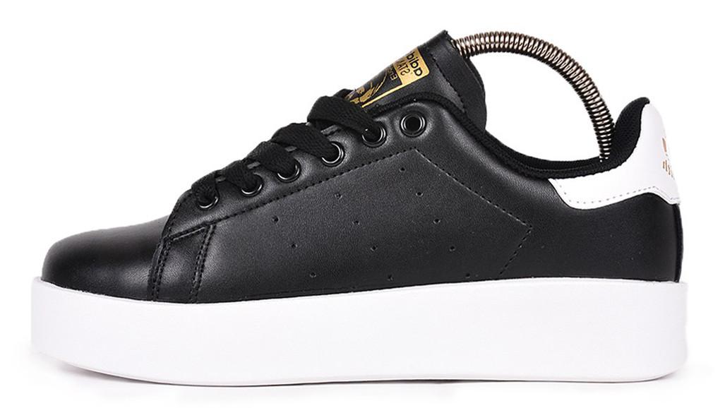 Женские кроссовки adidas Stan Smith (Адидас Стэн Смит) черно-белые