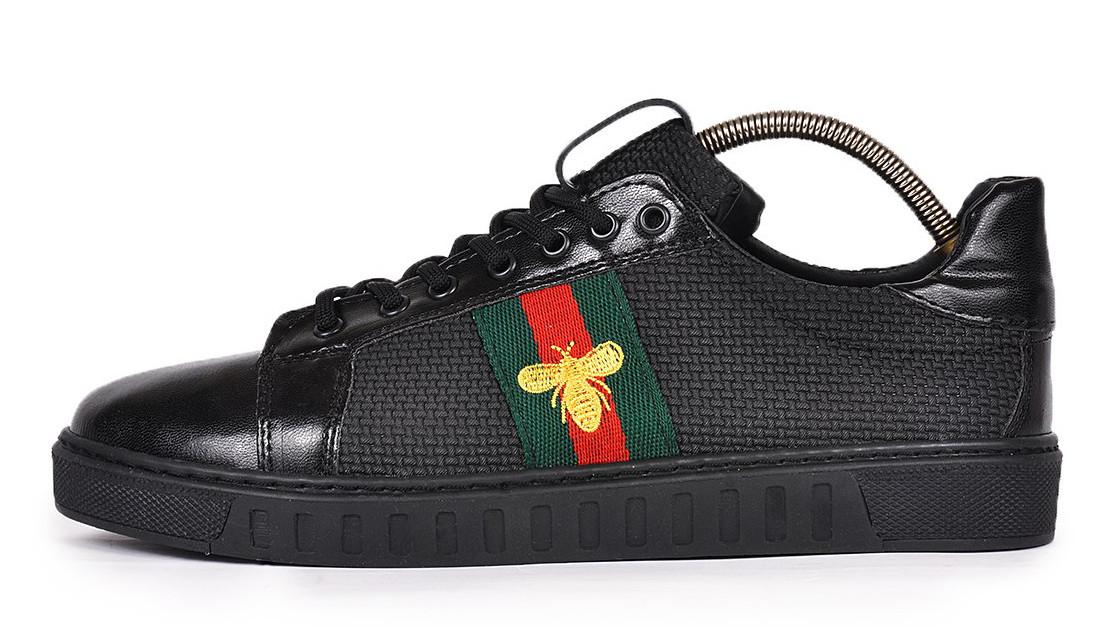 Мужские кеды Gucci Ace Embroidered Sneaker (Гуччи) черные