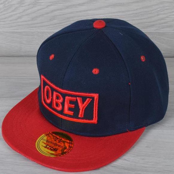 """Реперка мужская """"OBEY"""". Размер 57-58 см. Темно-синяя+красный. Оптом и в розницу."""