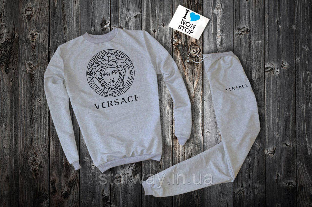 Трикотажный серый костюм   Versace logo
