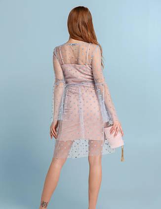 Легкий святковий комплект плаття фатін  розово-голубе  розмір 44,46,48, фото 2