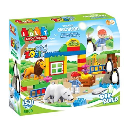 Конструктор JDLT 5089 Аналог Lego Duplo, зоопарк, фігурка, тварини 5 шт., 53 деталі, в коробці, 35-29-10 см