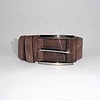 Мужской кожаный замшевый ремень коричневого цвета под джинсы KKE-872884