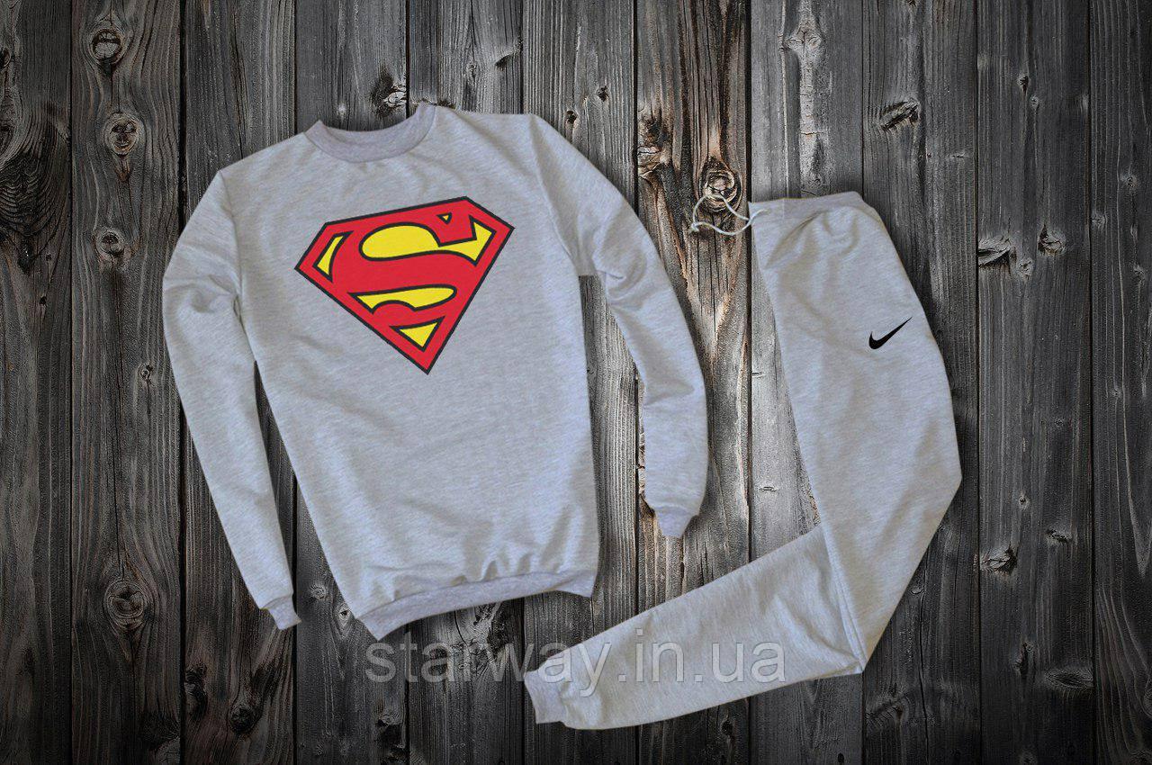 Трикотажный серый костюм Nike Superman logo