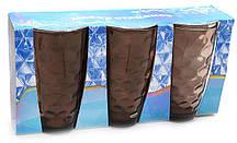 Набор стеклянных стаканов 425мл (3шт) коричневый