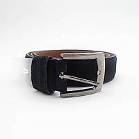 Мужской кожаный замшевый ремень черного цвета под джинсы KKE-872531, фото 1