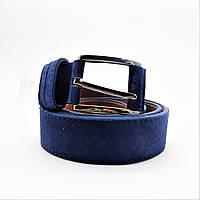 Мужской кожаный замшевый ремень синего цвета под джинсы KKE-870634, фото 1