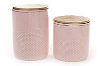 Банка фарфоровая с бамбуковой крышкой 1450мл, цвет - розовый с золотом