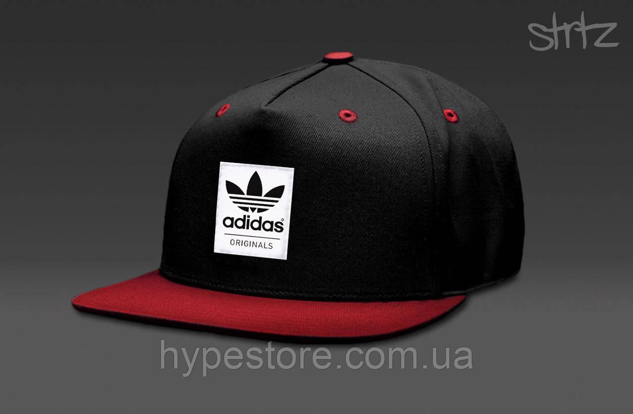 Кепка, cнепбек Adidas Originals, Адидас Ориджиналс (черно-красный), Реплика