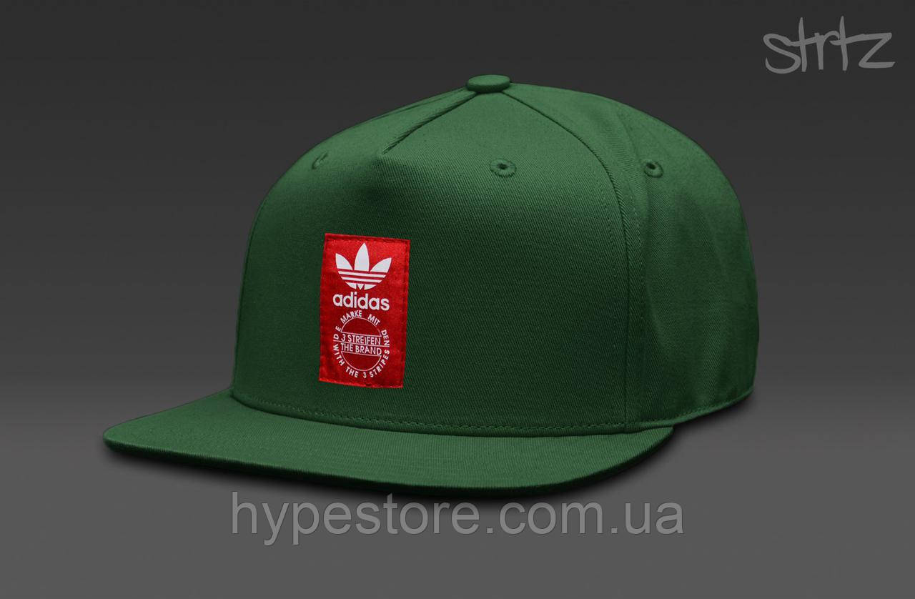 Кепка, cнепбек Adidas Originals, Адидас Ориджиналс, красный логотип (зеленый), Реплика