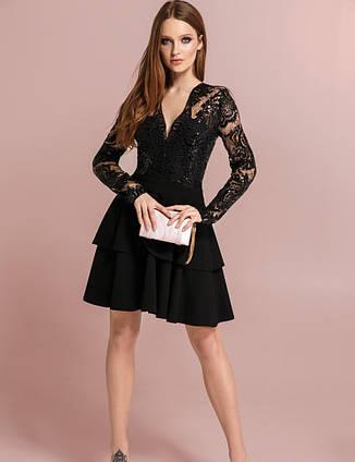 Ефектна вечірня сукня гіпюр паєтки чорна   розмір 42,44,46, фото 2