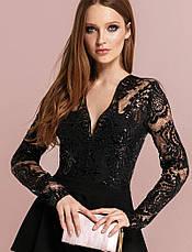 Ефектна вечірня сукня гіпюр паєтки чорна   розмір 42,44,46, фото 3