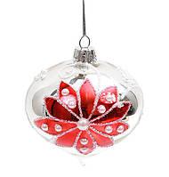 Елочное украшение в форме луковицы 8см серебро с красным цветком