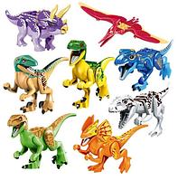Набор Динозавры Лего 8 штук. Конструктор Набор № 2. Яркая раскраска