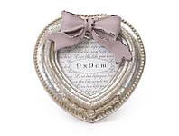 Рамка для фото деревянная в форме сердца с декором из искусственного камня Бант серебро антик