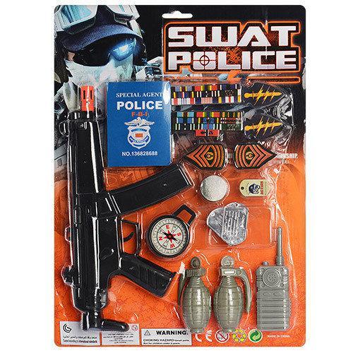 Набір міліції A507 (72шт) автомат, компас,рація, гранати 2шт, жетон, на листі, 31-42,5-3см