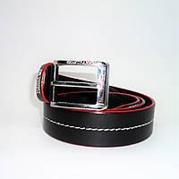 Стильный мужской кожаный ремень TH черного цвета под джинсы KKE-277599, фото 1