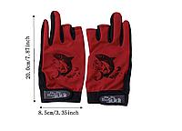 Перчатки для рыбалки, не скользящая,открытые пальцы Красные