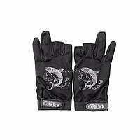 Перчатки для рыбалки, не скользящая,открытые пальцы чёрные