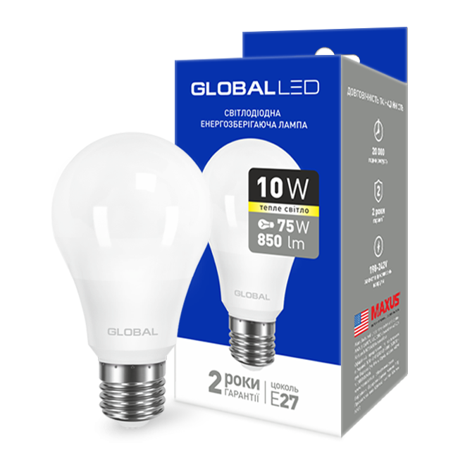 Лампа светодиодная GLOBAL LED A60 220v 10w 3000K E27 1-GBL-163