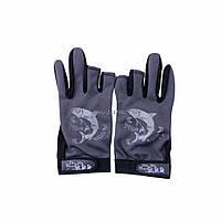 Перчатки для рыбалки, не скользящая,открытые пальцы Серые