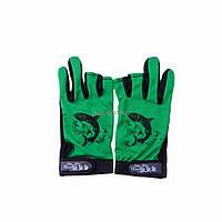 Перчатки для рыбалки, не скользящая,открытые пальцы Зеленые
