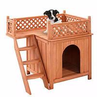 Двухуровневая с решеткой будка для собак