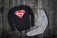 Трикотажный костюм Nike Superman logo чёрный верх серый низ