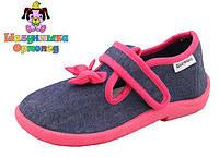 Тапочки детские Шалунишка для девочки цвет джинс с розовым бантиком р.24