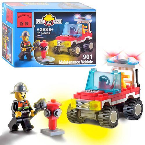 Конструктор BRICK 901  Пожарная тревога, машинка, 62 дет, фигурка, в к