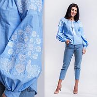 Современная женская вышиванка с орнаментом Голуби, голубого цвета