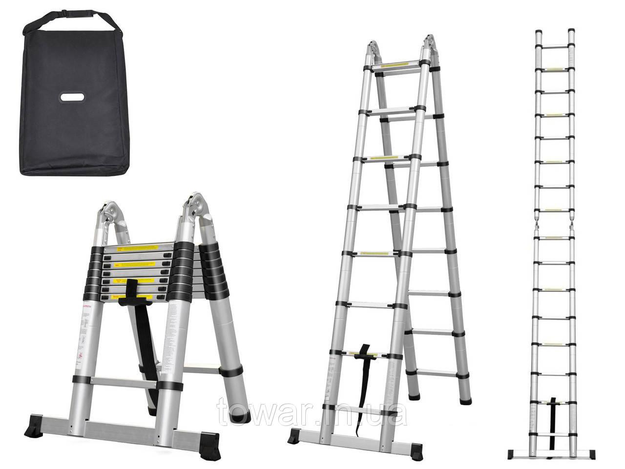 Лестница стремянка телескопическая 4.4 M 2x7 150 KG Польша