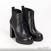 Черные демисезонные ботинки из натуральной кожи на высоком устойчивом  каблуке 397b151883e