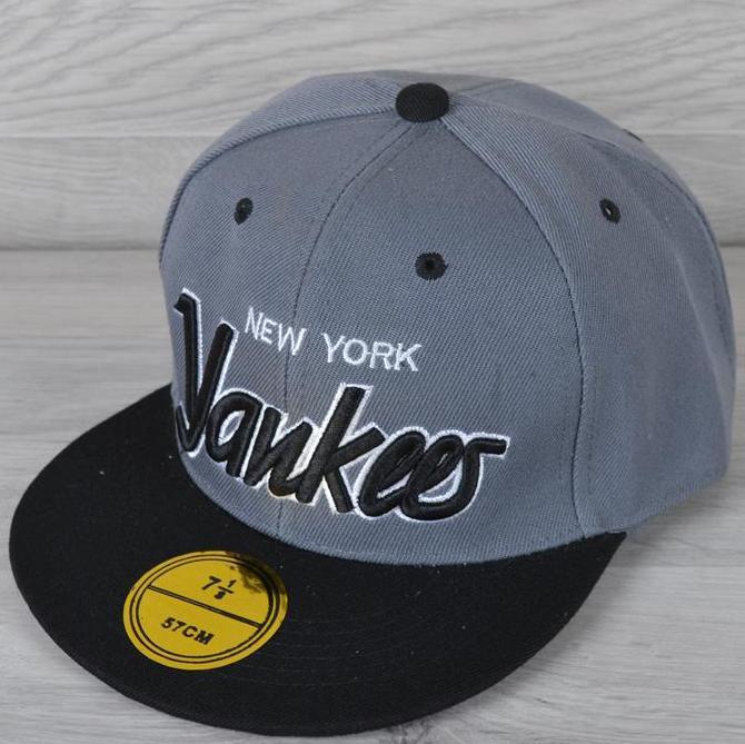 """Реперка мужская """"Yankees NY"""". Размер 57-58 см. Серая+черный. Оптом и в розницу."""