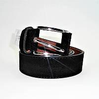 Мужской кожаный замшевый ремень черного цвета под джинсы KKE-088007, фото 1
