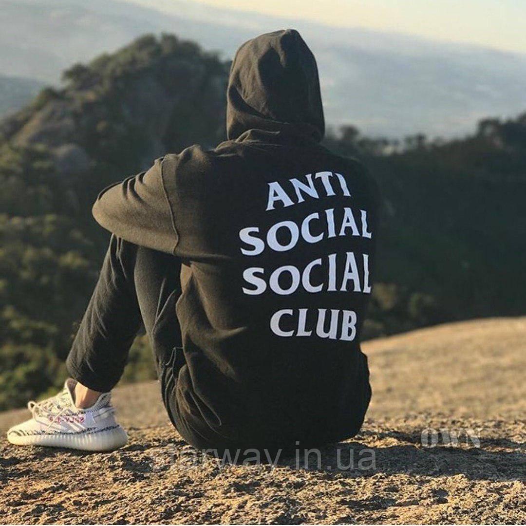 Худи чёрная Anti social social club | Толстовка стильная лого топ
