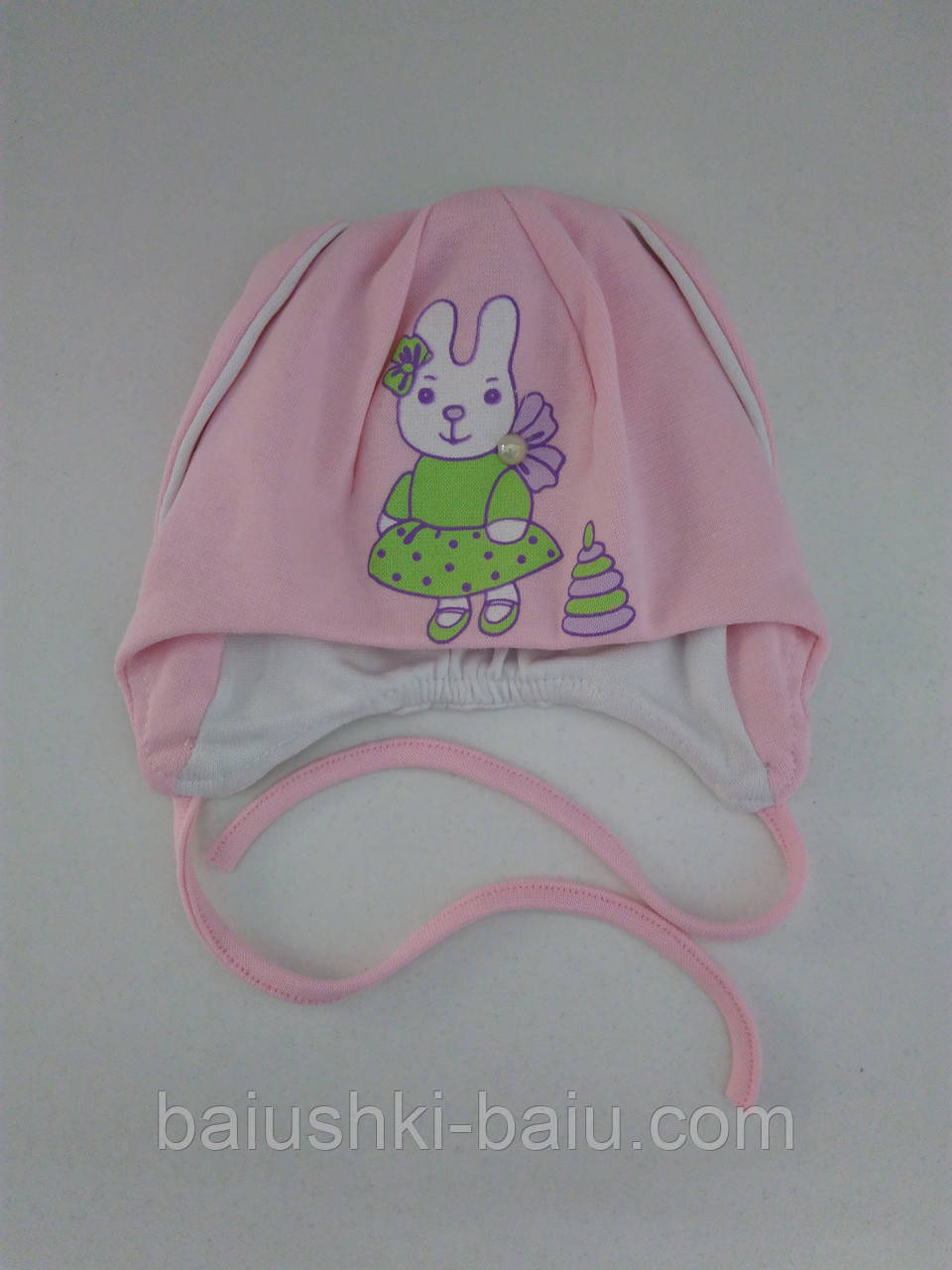 """Шапка на завязках для девочки """"Зайка"""", (двойной трикотаж), р. 40 см"""