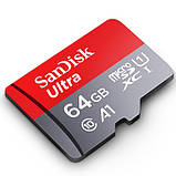 Карта памяти microSD SANDISK 64GB class 10 UHS-I U1 для видеорегистратора, фото 3