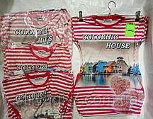 Туника  для девочки 9-12 лет красного,розового цвета в полоску домики оптом